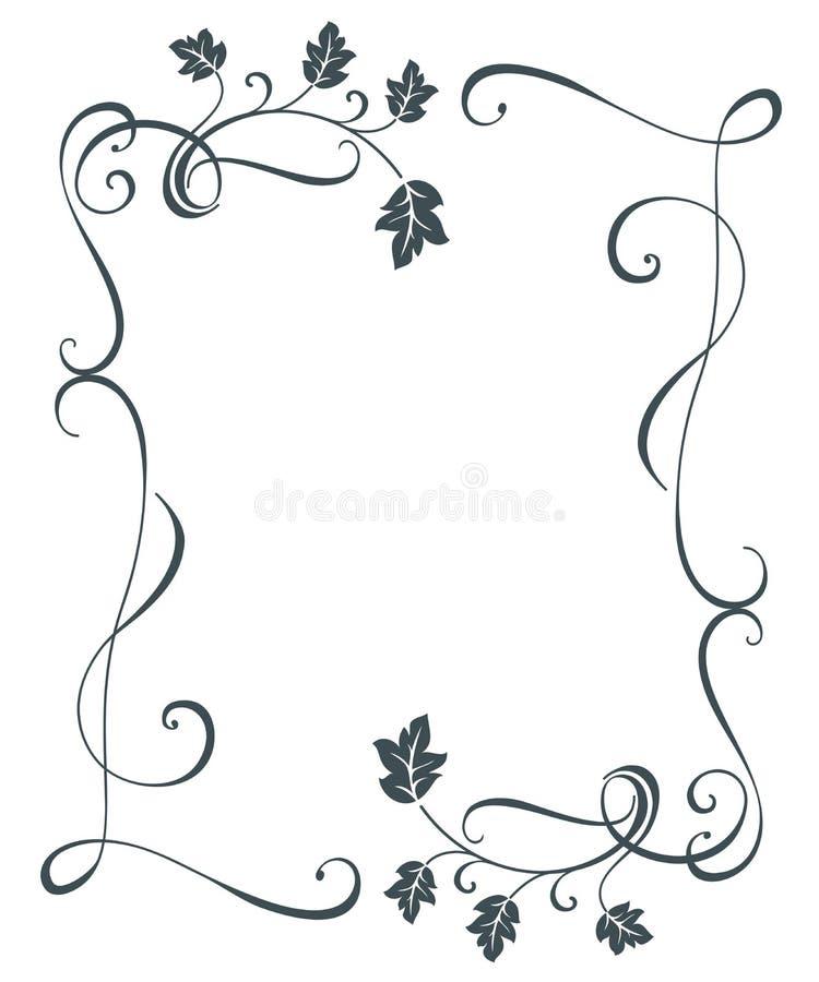 El roble del vintage sale del marco floral stock de ilustración