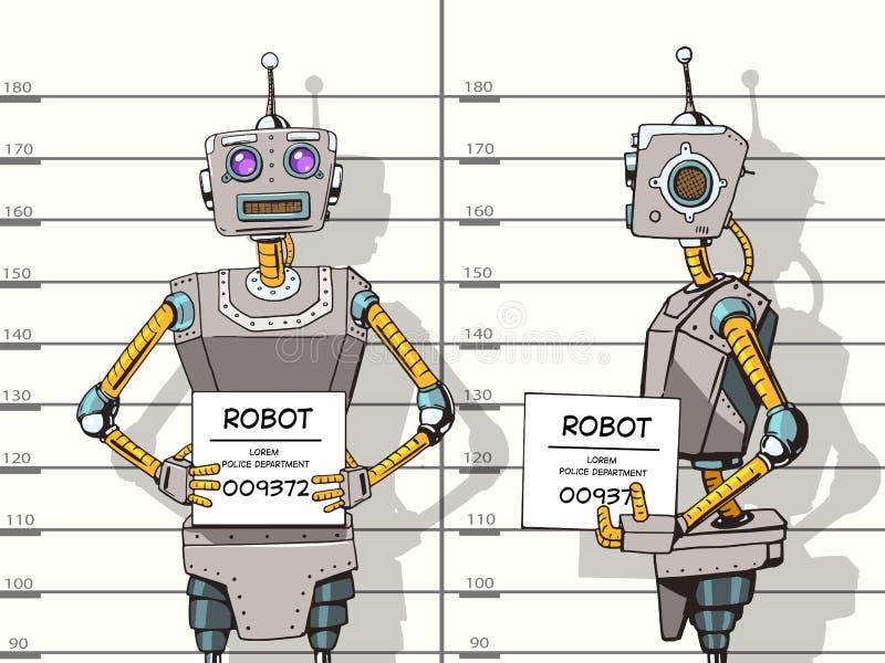 El robot arrestó la foto en vector del arte pop de la policía stock de ilustración