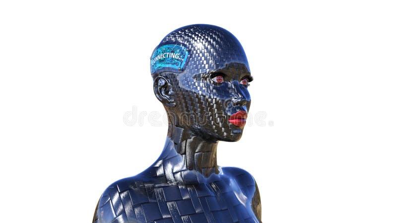 El robot biomecánico, conexión androide femenina con Internet, cyborg de la fibra de carbono con los implantes de la tecnología,  ilustración del vector
