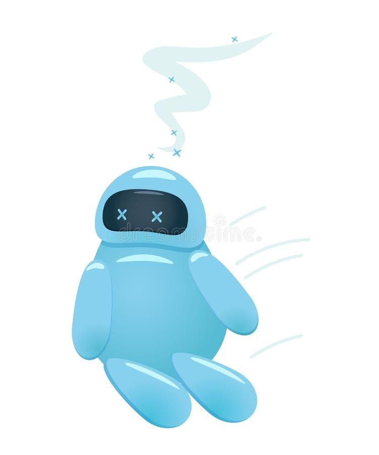 El robot cansado o con exceso de trabajo del AI baja a la tierra ilustración del vector
