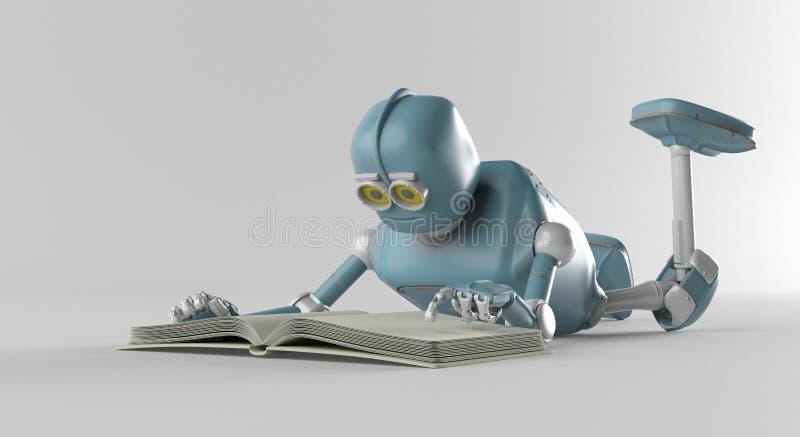 El robot con el libro, 3d rinde stock de ilustración