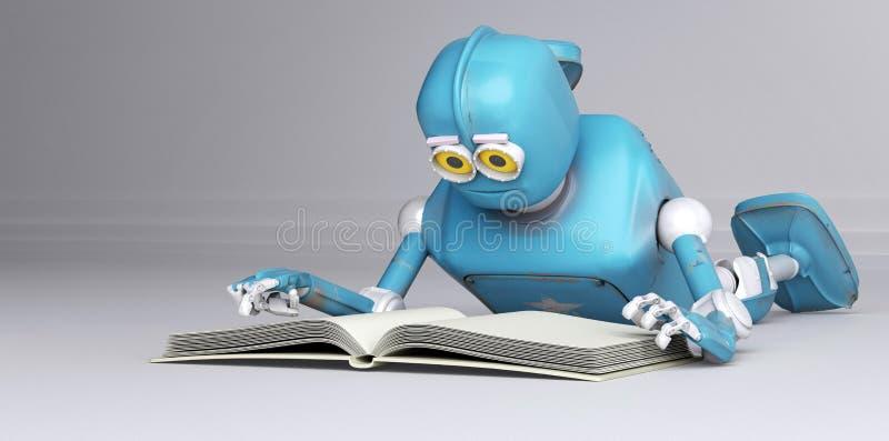 El robot con el libro, 3d rinde ilustración del vector