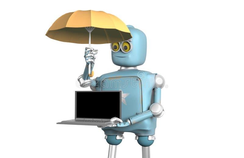 El robot con el paraguas protege el ordenador portátil 3d rinden libre illustration