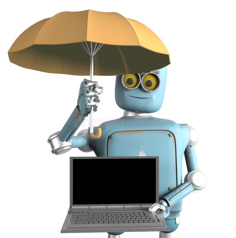 El robot con el paraguas protege el ordenador port?til 3d rinden ilustración del vector