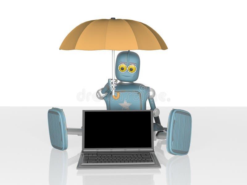 El robot con el paraguas protege el ordenador port?til 3d rinden stock de ilustración