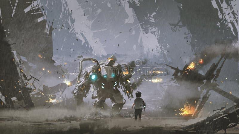 El robot dañado protegió al muchacho libre illustration