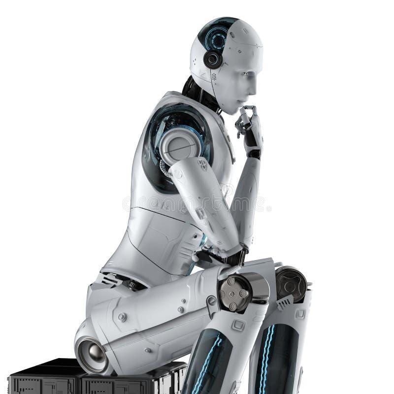 El robot del Ai piensa o computa