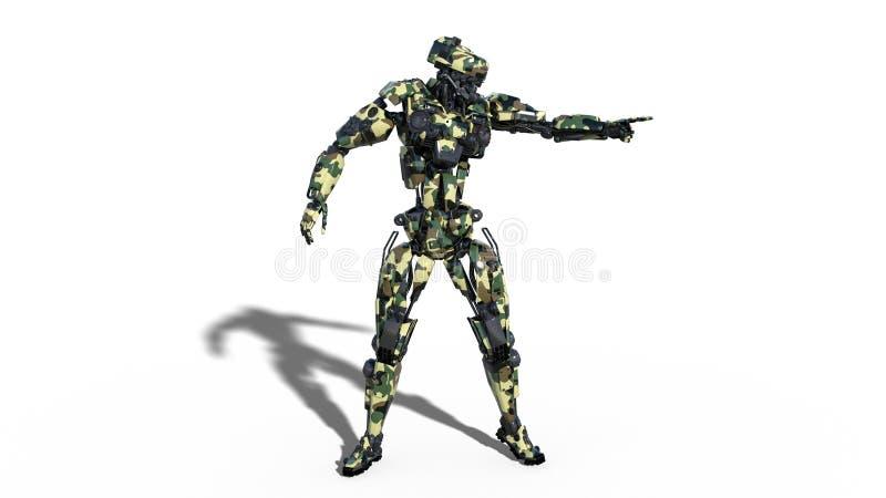 El robot del ejército, cyborg que señala, soldado androide militar de las fuerzas armadas de arma aislado en el fondo blanco, 3D  ilustración del vector