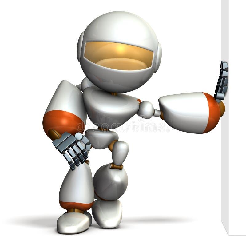 El robot del niño se está inclinando contra la pared presumido stock de ilustración
