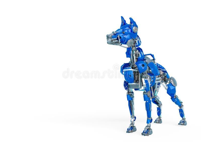 El robot del perro guardi?n es un sistema de seguridad en un fondo blanco libre illustration