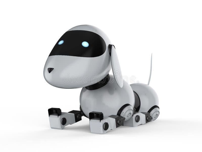 El robot del perro se agacha ilustración del vector