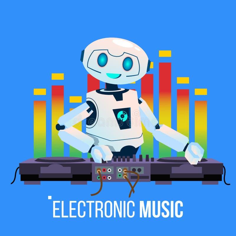 El robot DJ lleva el partido que juega electro música en la consola de mezcla en vector del club nocturno Ilustración aislada ilustración del vector