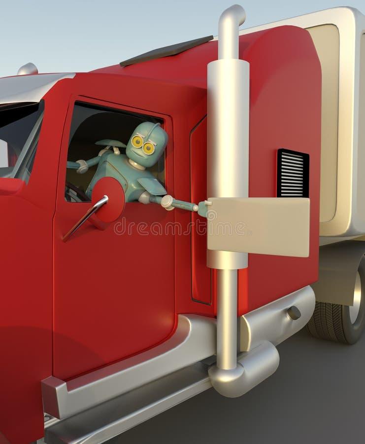 el robot en el coche 3d rinde ilustración del vector