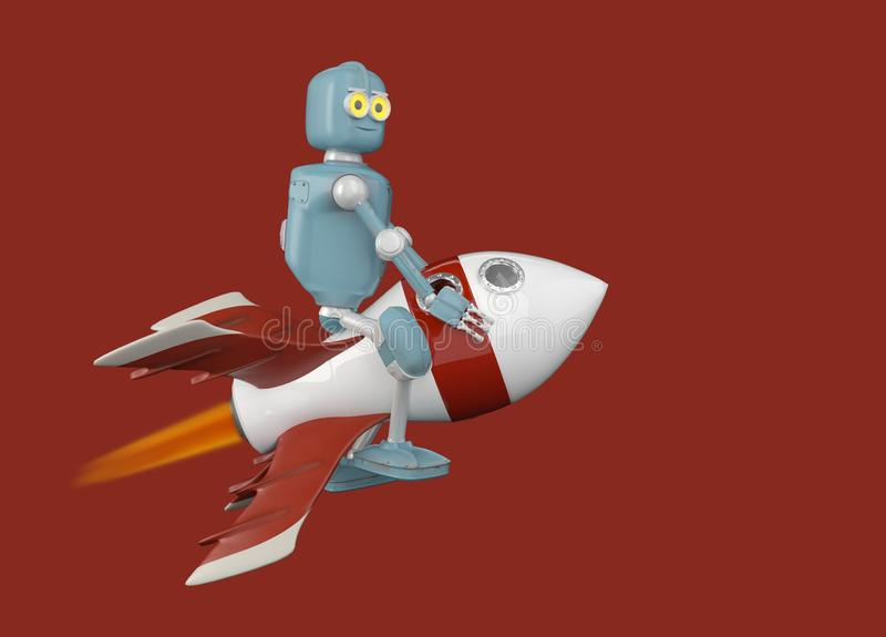 El robot en el cohete 3d rinde stock de ilustración