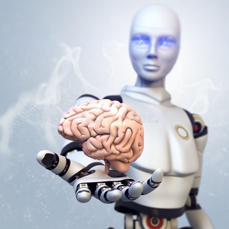 El robot está dando el cerebro ilustración del vector