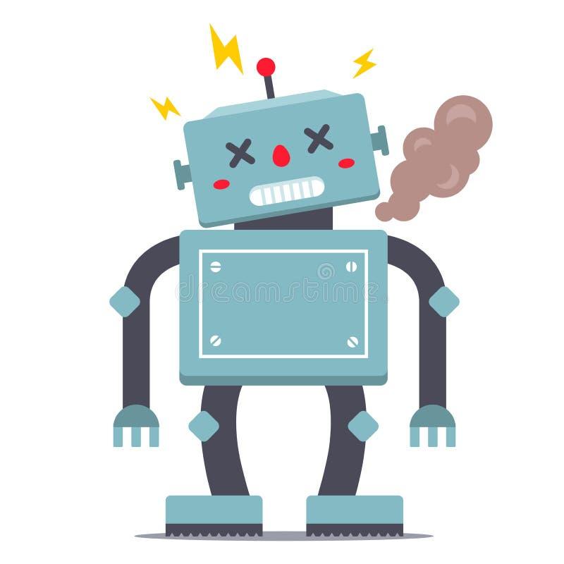El robot est? quebrado fuma y chispea libre illustration