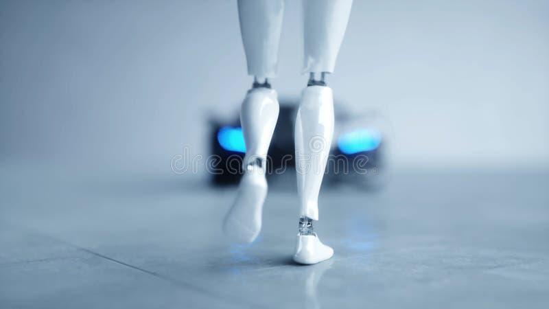 El robot femenino del humanoid futurista es walkihg al coche Concepto de futuro representación 3d libre illustration