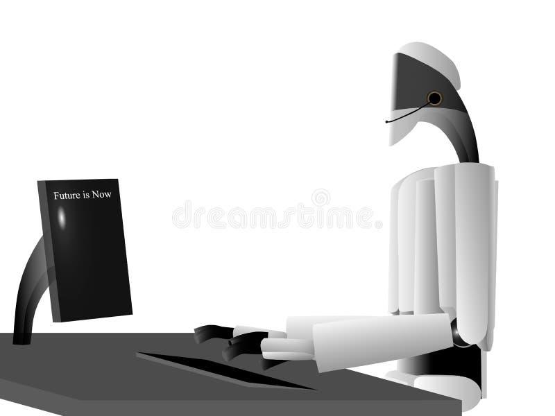 El robot funciona en un centro de atención telefónica ilustración del vector