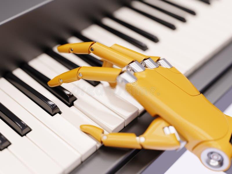El robot juega el ejemplo del concepto 3d de la inteligencia artificial del piano ilustración del vector