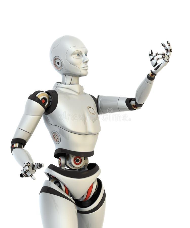El robot lleva a cabo algo en su mano ilustración del vector