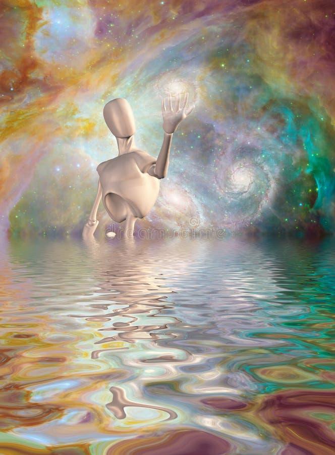 El robot lleva a cabo el espacio profundo de la galaxia stock de ilustración