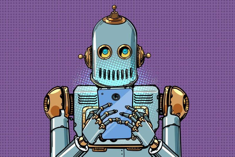 El robot mira el smartphone ilustración del vector