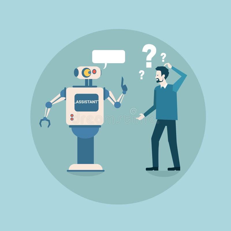 El robot moderno piensa problema con tecnología futurista del mecanismo de la inteligencia artificial del hombre de negocios libre illustration