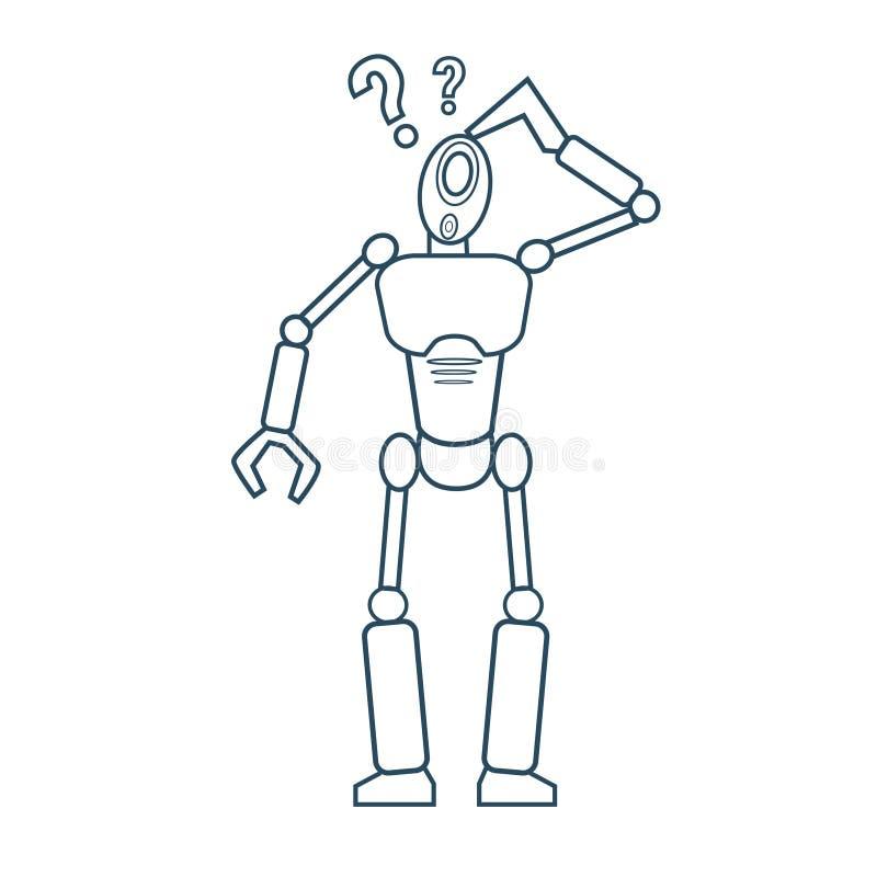 El robot moderno que piensa el mecanismo futurista alinea ligeramente libre illustration