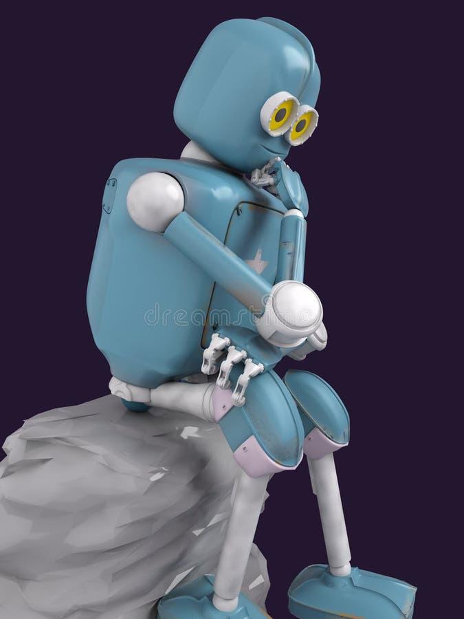 El robot retro piensa sentarse en la piedra, inteligencia artificial, ai ilustración del vector