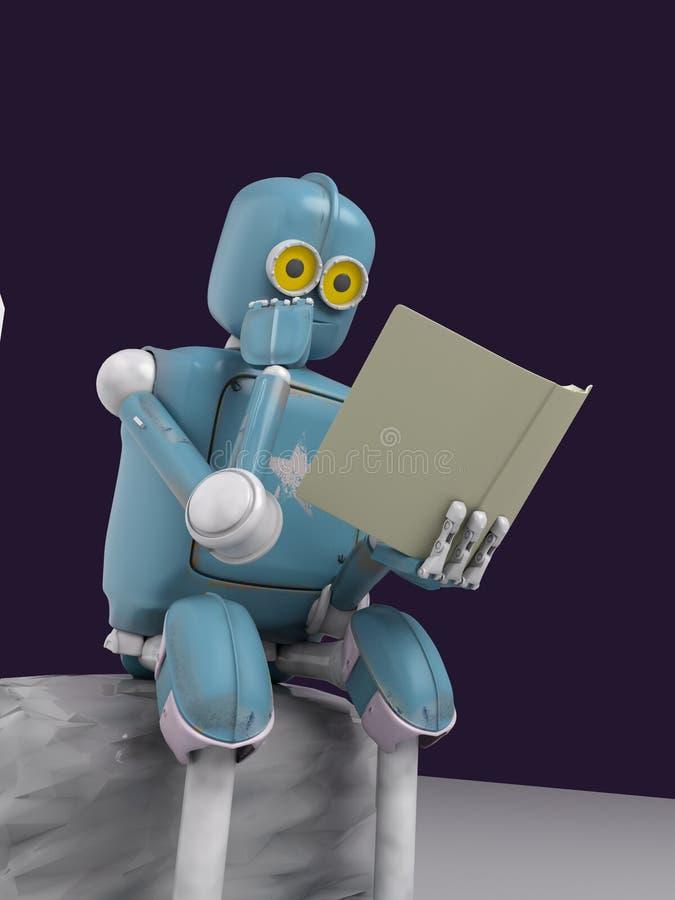 El robot se está sentando en una piedra y está leyendo un libro 3d rinda ilustración del vector