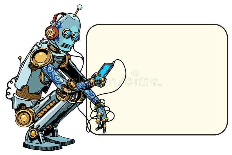 El robot se sienta con el teléfono stock de ilustración