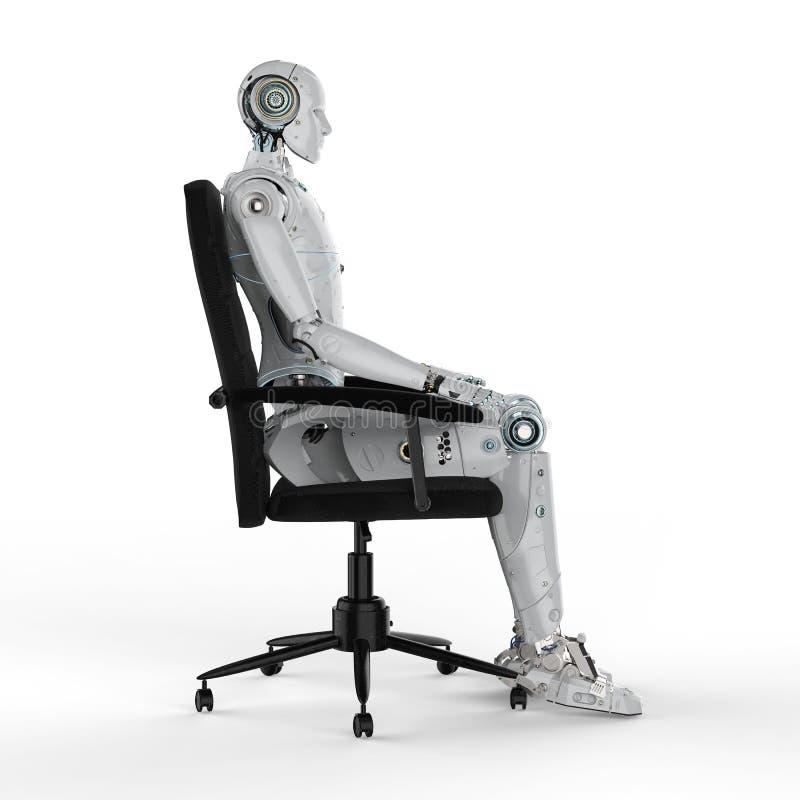 El robot se sienta en silla libre illustration