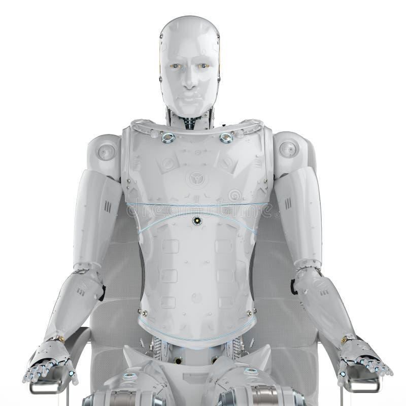 El robot se sienta en silla ilustración del vector