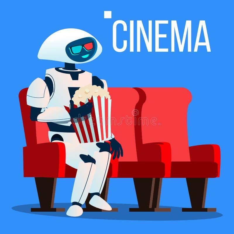 El robot se sienta en silla en cine en los vidrios 3D y mantiene las palomitas vector de las manos Ilustración aislada stock de ilustración