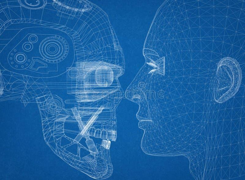 El robot y la cabeza humana diseñan - al arquitecto Blueprint ilustración del vector