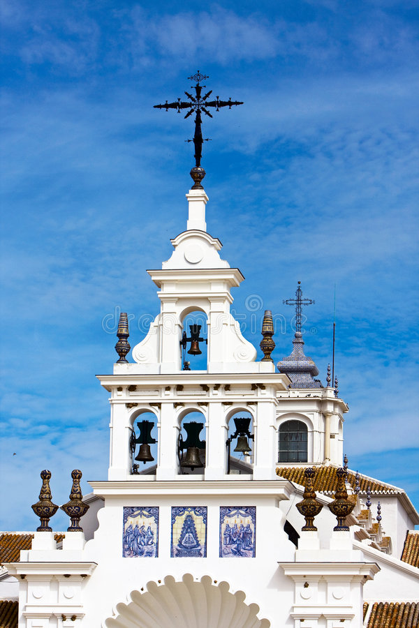 El Rocio, Spain. Every year is here a pilgrimage for the holy Virgin del Rocio. with 10thousands of pilgrims. Under the pilgrims there are also a lot of Gipsy's stock images