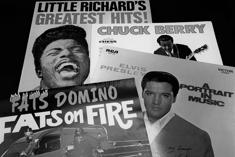 El rock-and-roll de los expedientes del Lp protagoniza Big Four; Elvis Presley, Chuck Berry, Little Richard y Fats Domino fotos de archivo libres de regalías