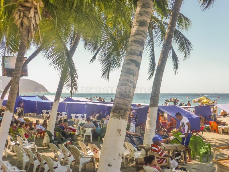 El Rodadero海滩在哥伦比亚 库存图片