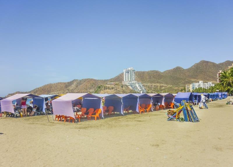 El Rodadero海滩在哥伦比亚 免版税库存图片