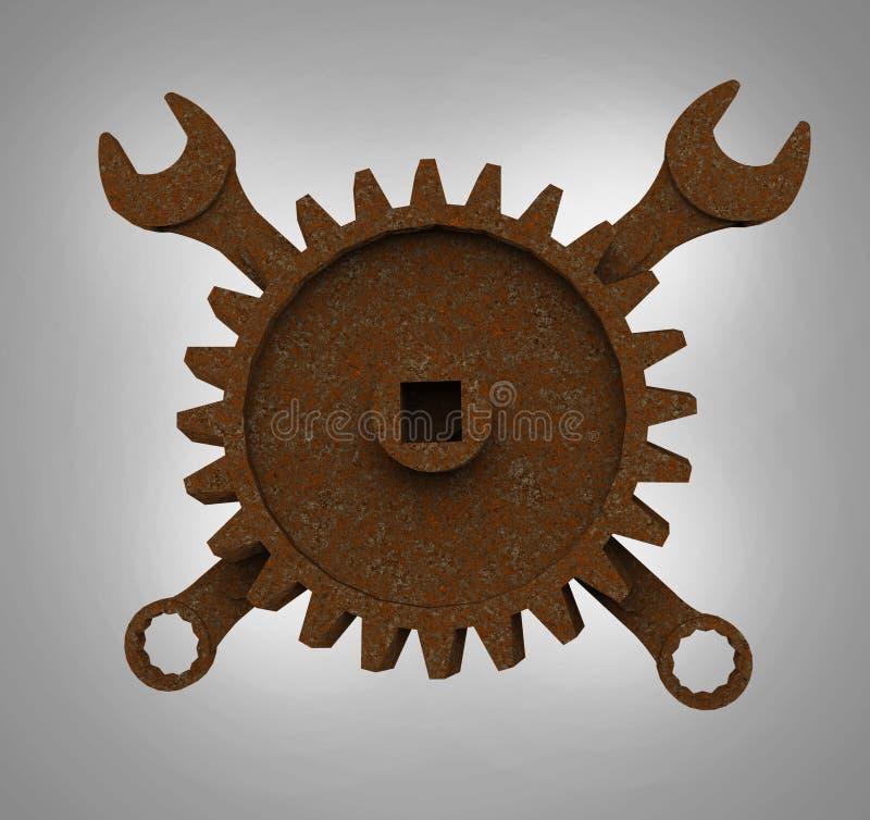 El rodger alegre hecho de las llaves y de las ruedas dentadas oxidadas, emblema apocalíptico del mecánico del estilo de los posts stock de ilustración