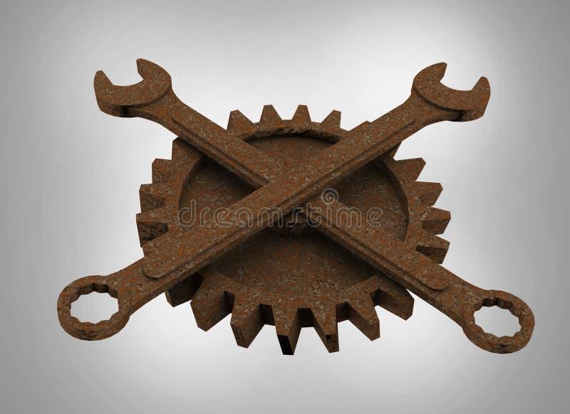 El rodger alegre hecho de las llaves y de las ruedas dentadas oxidadas, emblema apocalíptico del mecánico del estilo de los posts ilustración del vector