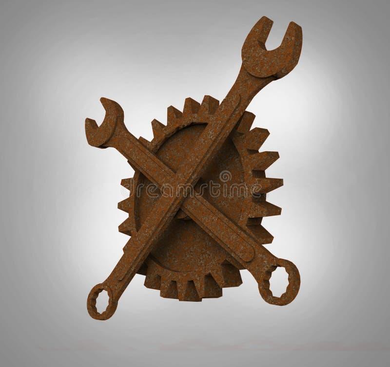 El rodger alegre hecho de las llaves y de las ruedas dentadas oxidadas, emblema apocalíptico del mecánico del estilo de los posts libre illustration