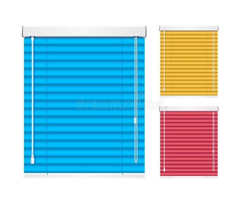 El rodillo realista de la persiana de la ventana del color Shutters persianas Vector ilustración del vector