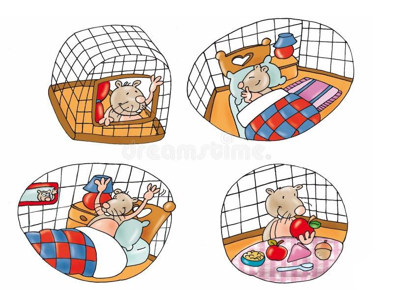 El roedor del hámster de los animales domésticos en una jaula duerme y come ilustración del vector