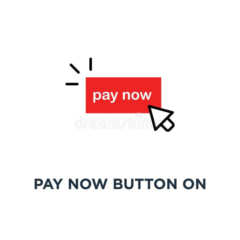 el rojo ahora paga el botón en el icono blanco, símbolo de las mercancías fáciles de la orden a través de la tienda en línea como stock de ilustración