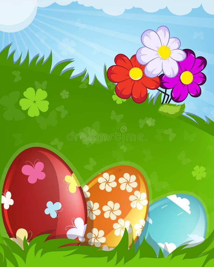 El rojo, anaranjado y el azul pintaron los huevos de Pascua libre illustration