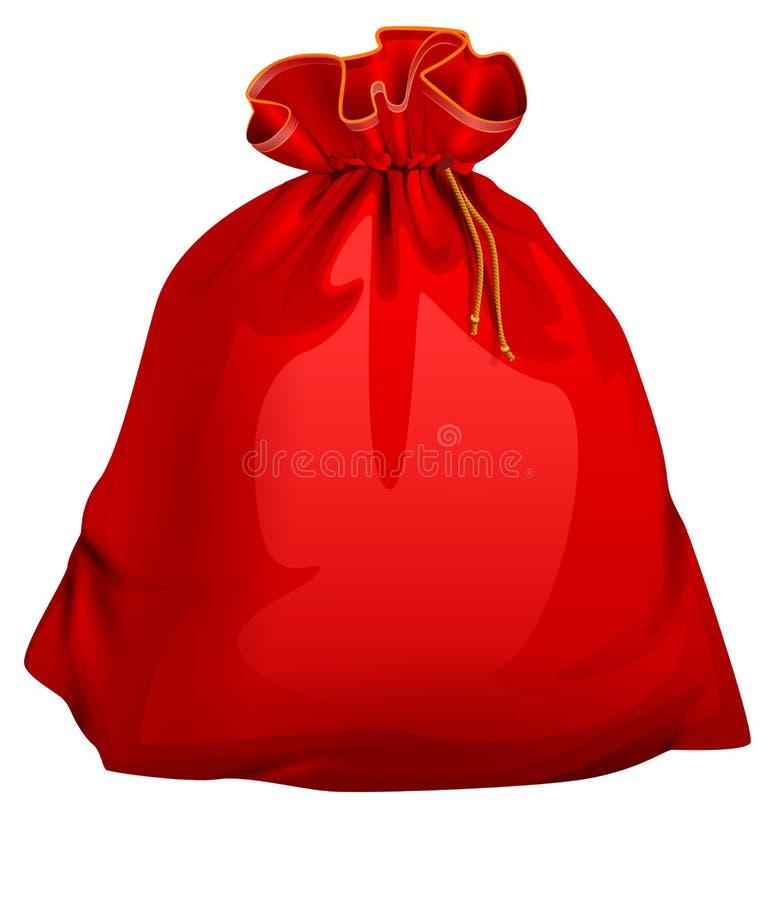 El rojo ató el bolso lleno cerrado de santa con los regalos Accesorio de la Navidad ilustración del vector