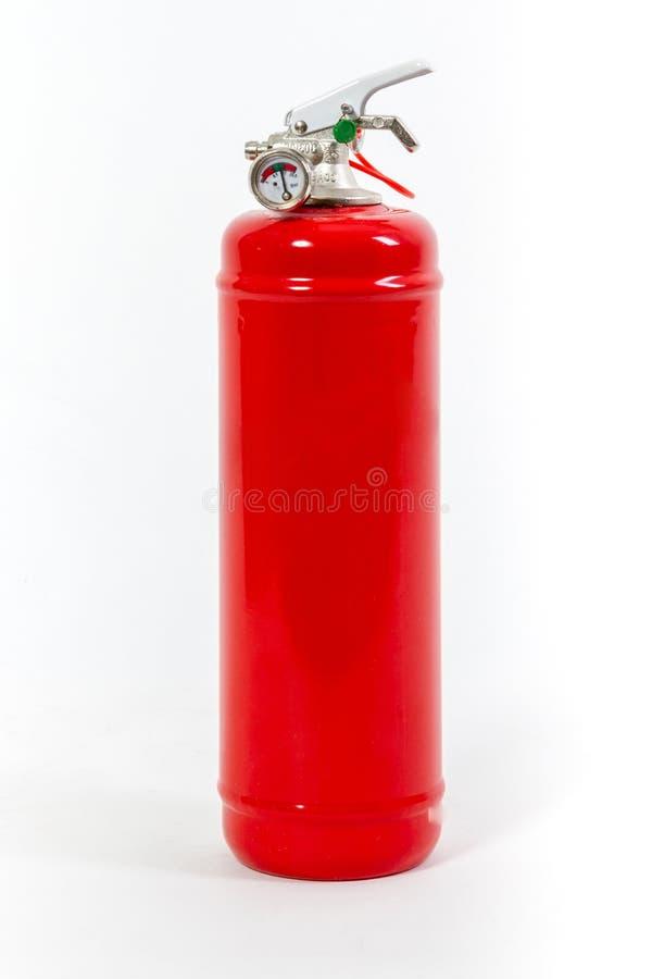 El rojo coloreó el extintor retro aislado en el fondo blanco imagen de archivo