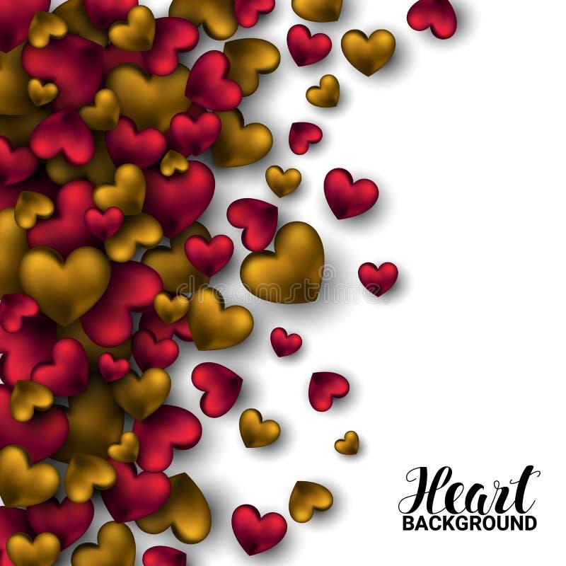El rojo colorido realista 3D y el oro Valentine Hearts Valentines romántico aman Fondo de la ilustración del vector libre illustration