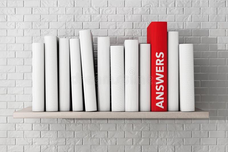 El rojo contesta al libro en un estante con otros libros en blanco foto de archivo
